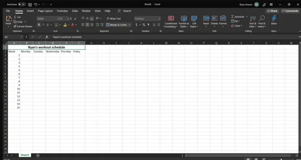 Excel-merge and center 1