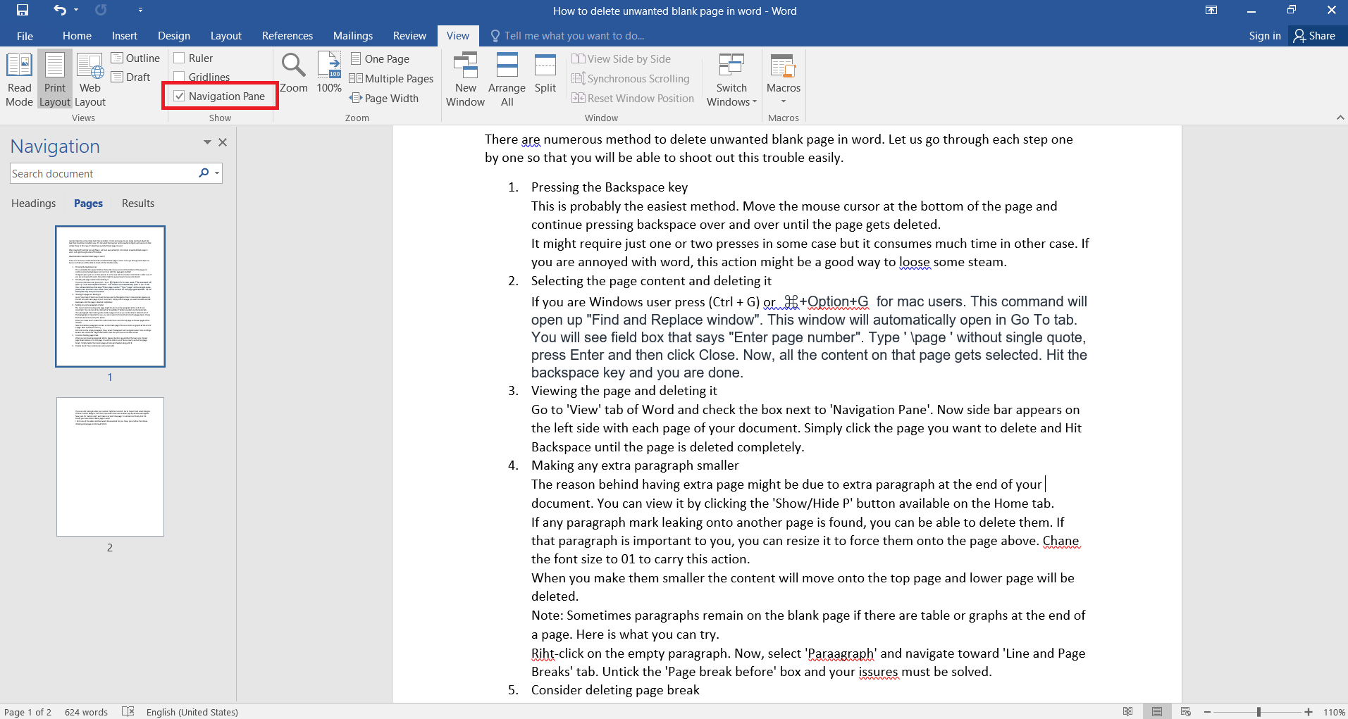 6 Amazing ways to delete unwanted blank page in word within a second. -  Technical Aide