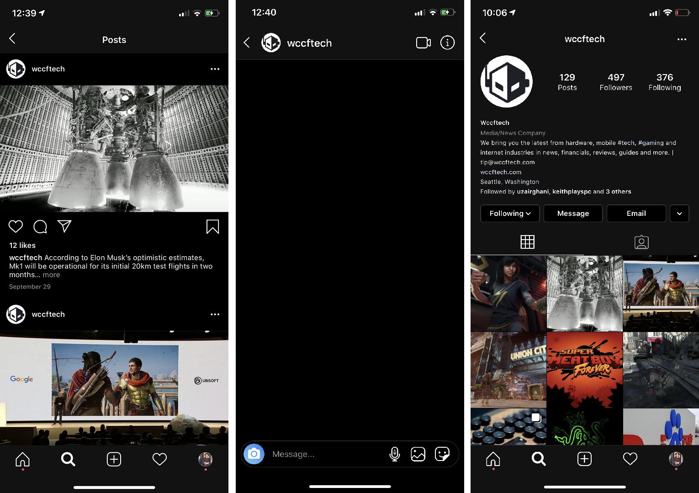 Enable dark mode on Instagram in iOS