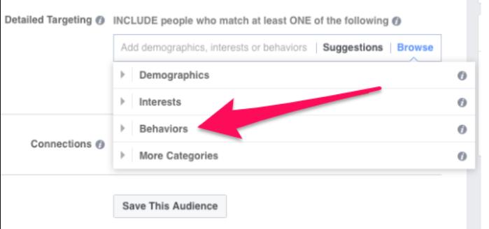 Facebook ads behaviour section