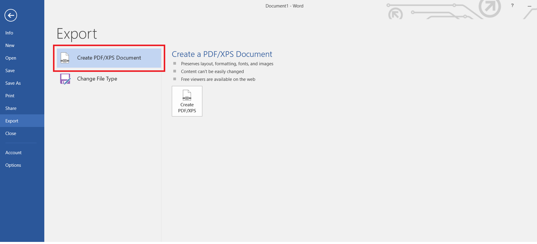 Create PDF XPS Document in word 2016