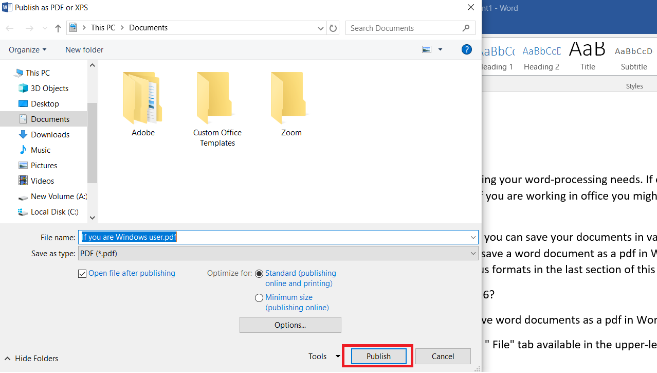 Publish file as PDF in word 2016