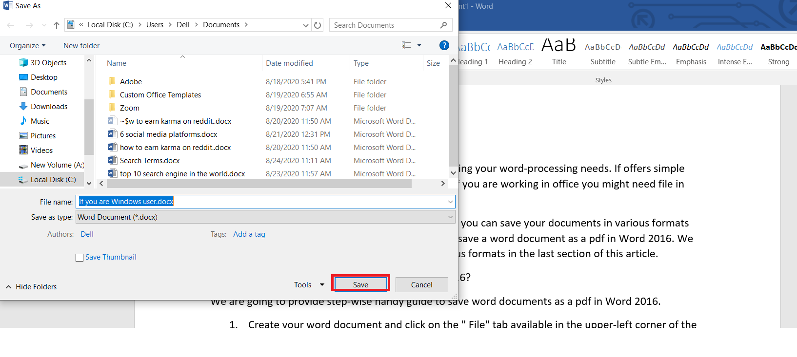 Save file in default format in word 2016