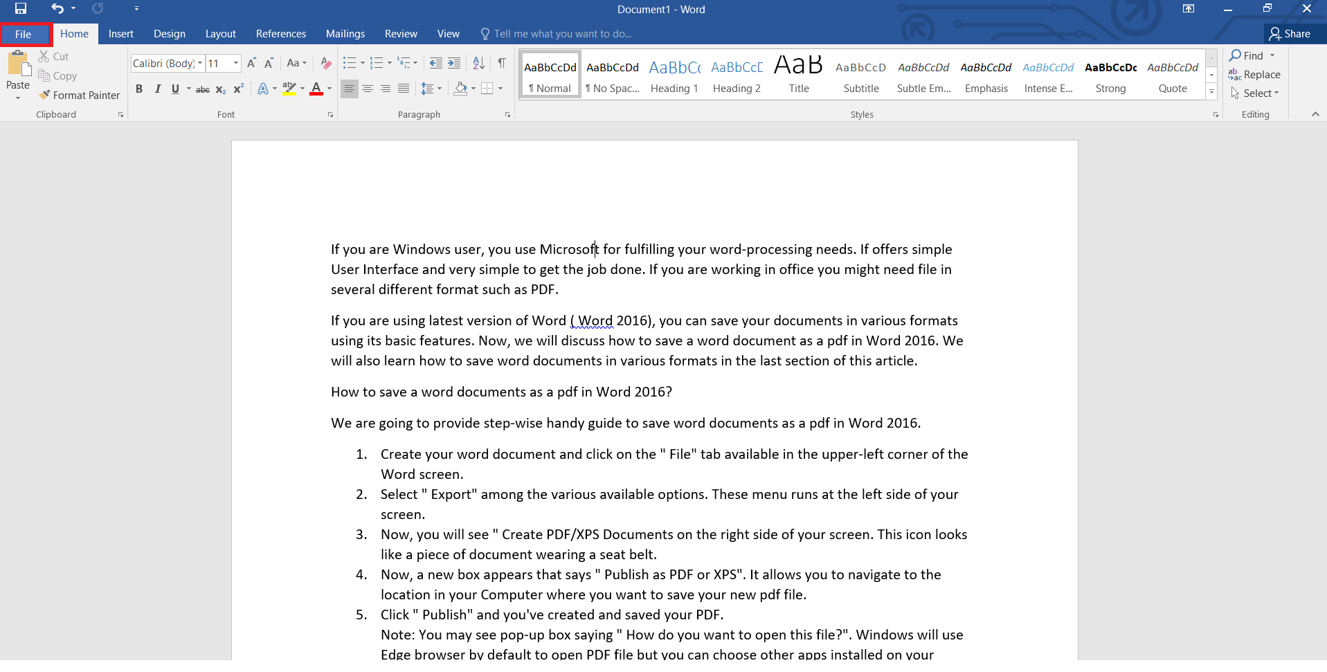 Save option in Word 2016