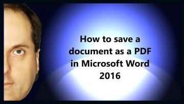 How to save a Word document as a PDF in Word 2016?