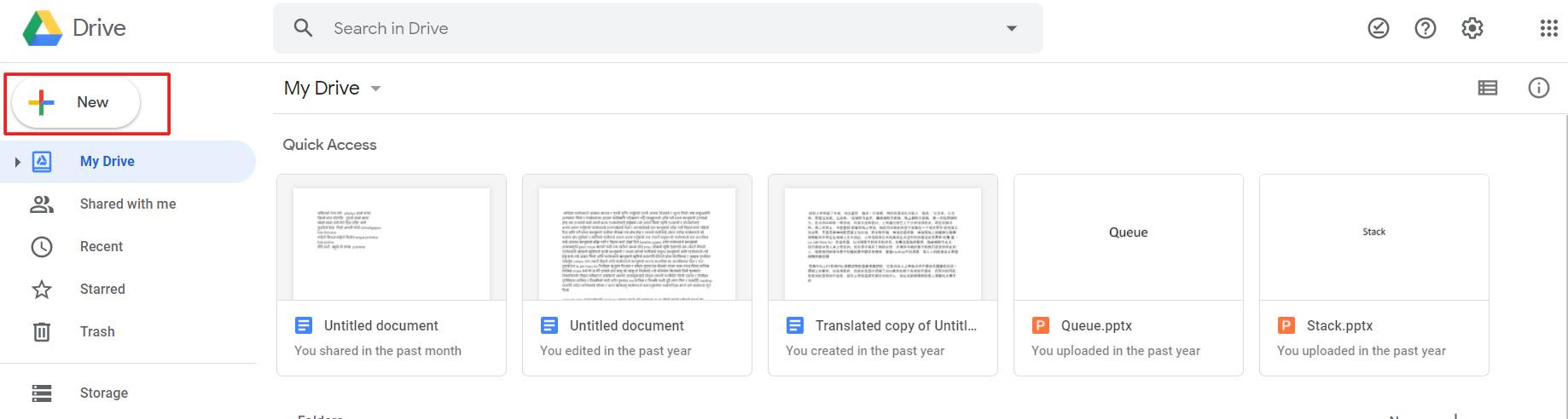 Add new file in Google Drive