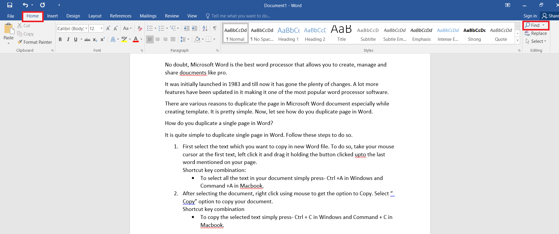 Find option in Word
