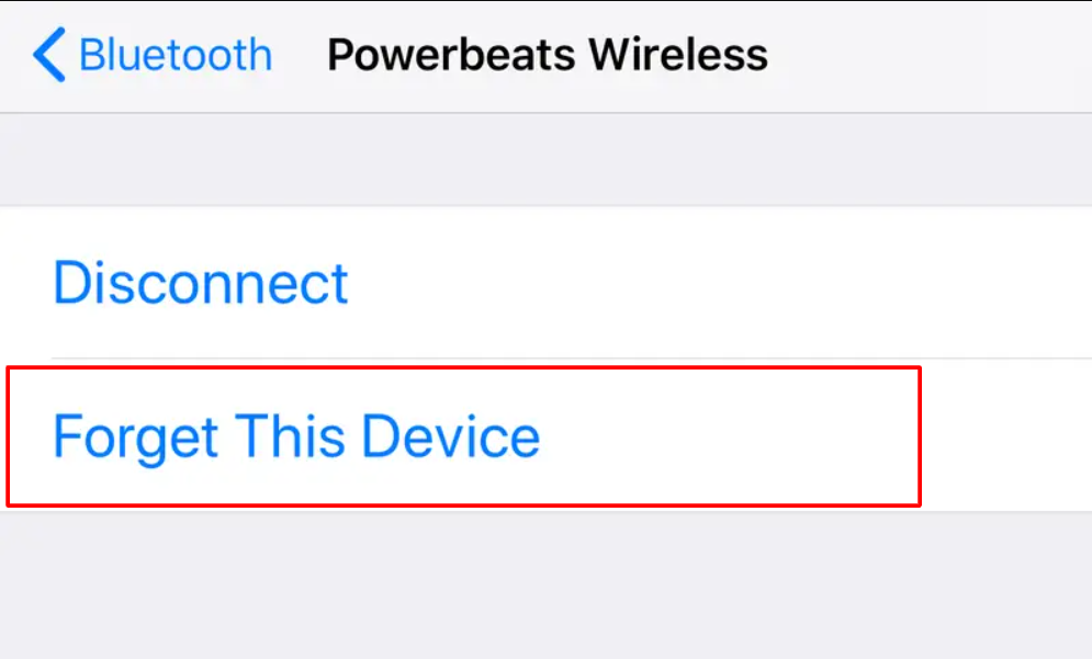Forget bluetooth device on iPhone