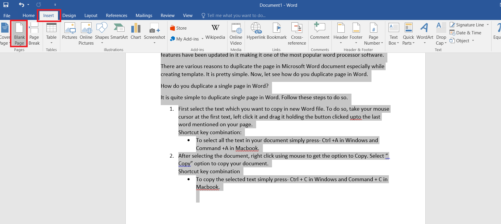 New blank page in Word
