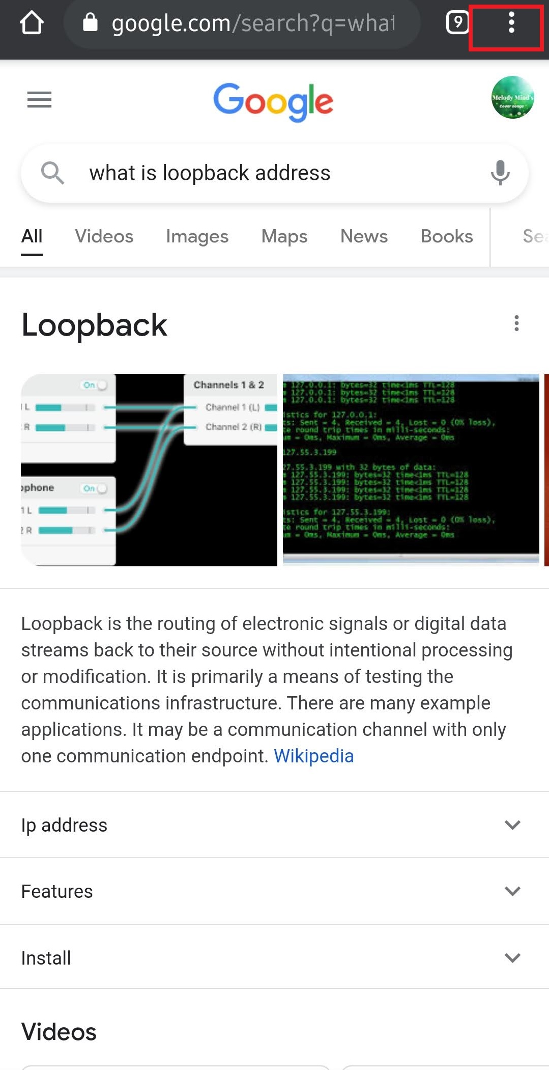 Options in Google Chrome on Android