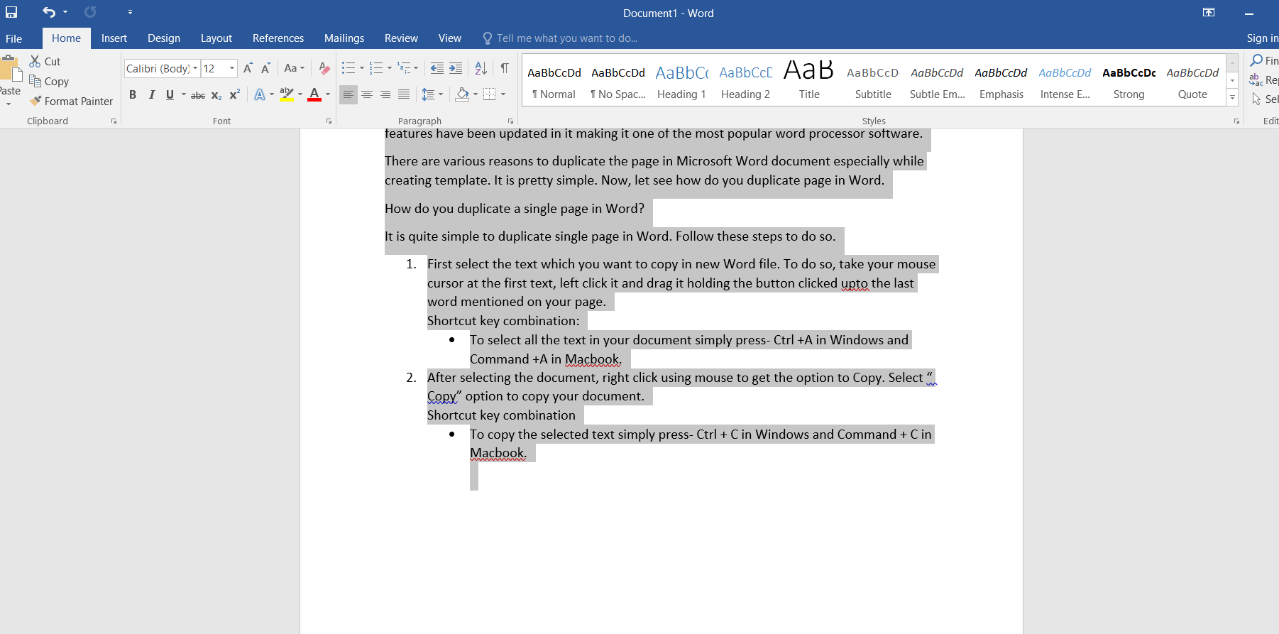 Text document selection in Word